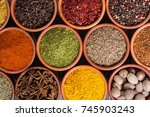 collection of indian spices in... | Shutterstock . vector #745903243