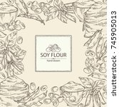 background with soy flour  bag... | Shutterstock .eps vector #745905013
