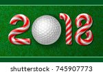 golf ball with candy cane... | Shutterstock .eps vector #745907773