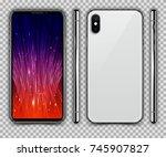 realistic white slim smartphone ... | Shutterstock .eps vector #745907827