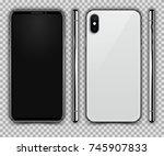 realistic white slim smartphone ... | Shutterstock .eps vector #745907833
