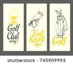 golf layout banners with ball ... | Shutterstock .eps vector #745909993