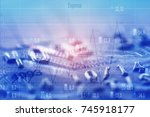 double exposure rows of coins... | Shutterstock . vector #745918177