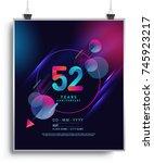 52 years anniversary logo with...   Shutterstock .eps vector #745923217