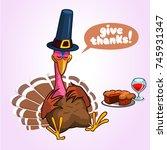 thanksgiving cartoon turkey... | Shutterstock .eps vector #745931347
