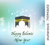 vector illustration of islamic... | Shutterstock .eps vector #745943653