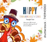 happy thanksgiving abstract... | Shutterstock . vector #745945003