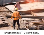 construction with blurry... | Shutterstock . vector #745955857