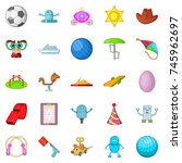 funny game icons set. cartoon... | Shutterstock .eps vector #745962697