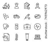 premium set of healthcare line... | Shutterstock .eps vector #745962973