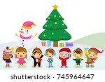 group of children and snowman | Shutterstock .eps vector #745964647