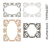 classical baroque vector set of ... | Shutterstock .eps vector #745966387