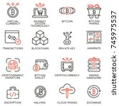 vector set of 16 linear icons... | Shutterstock .eps vector #745975537