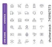 line icons set. logistics pack.... | Shutterstock .eps vector #745987573