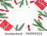 christmas composition.... | Shutterstock . vector #745995523