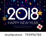 happy new year 2018 background... | Shutterstock .eps vector #745996783