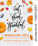 happy thanksgiving eat  drink... | Shutterstock .eps vector #746021857