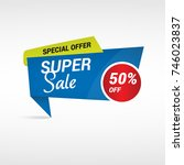 blue super sale label   special ... | Shutterstock .eps vector #746023837