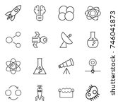 thin line icon set   rocket ... | Shutterstock .eps vector #746041873