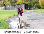 cute little school kid boy...   Shutterstock . vector #746045053