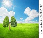 green tree shaped in human... | Shutterstock . vector #746051803