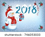 christmas card with snowman in... | Shutterstock . vector #746053033