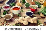colorful spices and fresh herbs ... | Shutterstock . vector #746055277