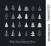 20 different christmas tree... | Shutterstock .eps vector #746055727