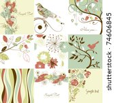 set of cute floral greeting... | Shutterstock .eps vector #74606845