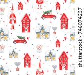 watercolor christmas pattern ... | Shutterstock . vector #746074237