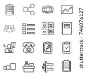 thin line icon set   clipboard  ... | Shutterstock .eps vector #746076127