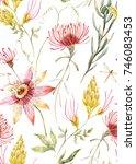 watercolor tropical pattern... | Shutterstock . vector #746083453