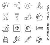 thin line icon set   brain ...   Shutterstock .eps vector #746087407