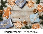 xmas background with... | Shutterstock . vector #746090167