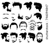 set of barbershop images.... | Shutterstock .eps vector #746094847