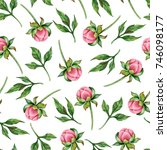 watercolor seamless floral... | Shutterstock . vector #746098177