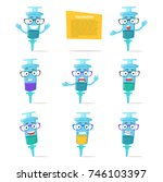 set with syringes  emotions.... | Shutterstock .eps vector #746103397
