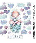 hello baby greeting card....   Shutterstock . vector #746110027