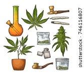 set marijuana. cigarettes  pipe ... | Shutterstock .eps vector #746116807