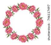 watercolor wreath of flowers... | Shutterstock . vector #746117497