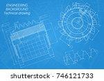 mechanical engineering drawings ... | Shutterstock .eps vector #746121733