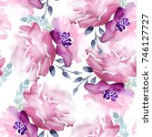 seamless watercolor floral... | Shutterstock . vector #746127727