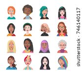 set of woman avatars. sixteen...