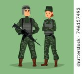 Cartoon soldiers with weapon or gun, rifle, camouflage and body armor or armour, helmet. Military man and woman, army people or american, US special forces. Work and warrior, commando theme