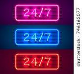 neon signboard 24 7 open time... | Shutterstock .eps vector #746162077