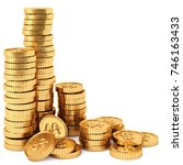 heap of gold coins with dollar... | Shutterstock . vector #746163433