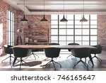 modern red brick conference... | Shutterstock . vector #746165647