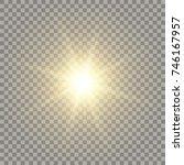 yellow realistic sun. naturally ... | Shutterstock .eps vector #746167957