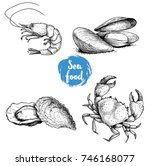seafood sketches set. fresh...