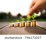 hand putting money coins and... | Shutterstock . vector #746173327